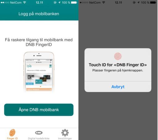 FINGERAVTRYKK: Hos DNB kan du scanne fingeravtrykket ditt for å få tilgang til nettbanken.