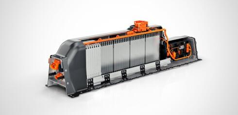 BATTERIPAKKE: T5 Twin Engine får en slik pakke bestående av flere litiumion-moduler. Her ser vi den i en gjennomskåret versjon. Foto: VOLVO