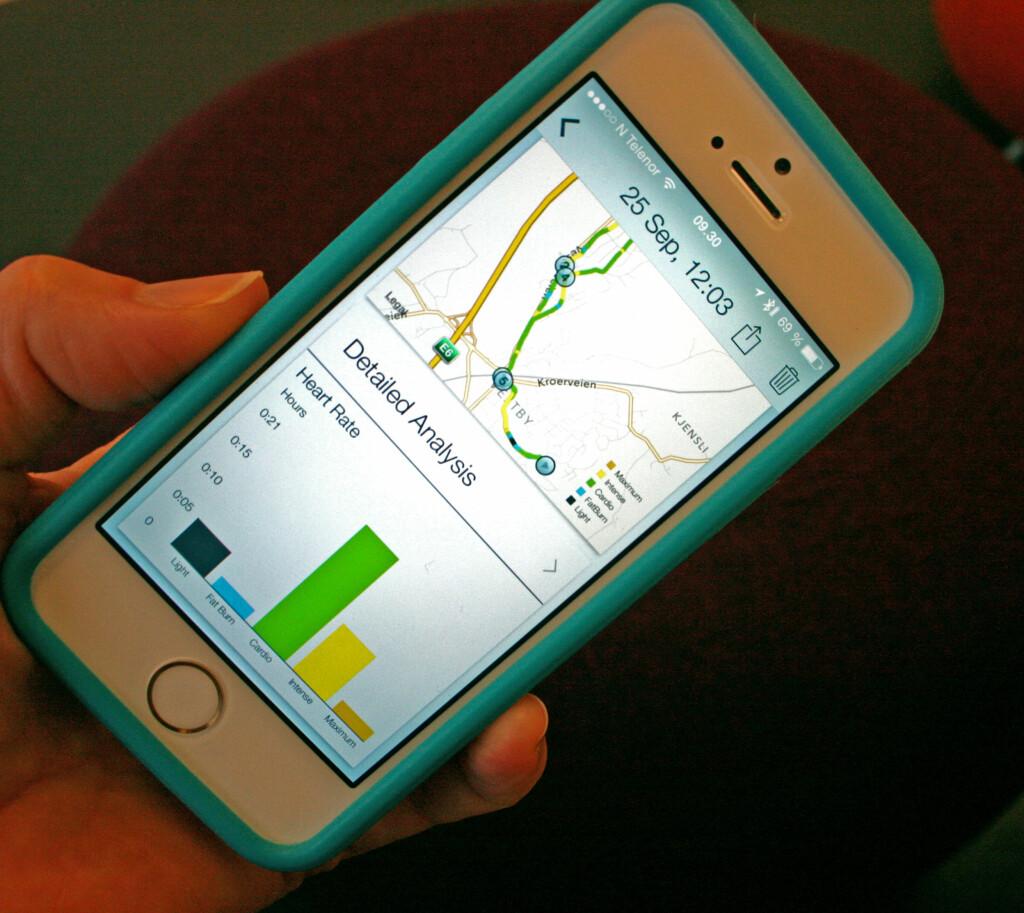 ANALYSER: Du kan få flere spennende analyser i Jabra-appen, som pulssoner, fart, stigning og løpetakt. Foto: KRISTIN SØRDAL