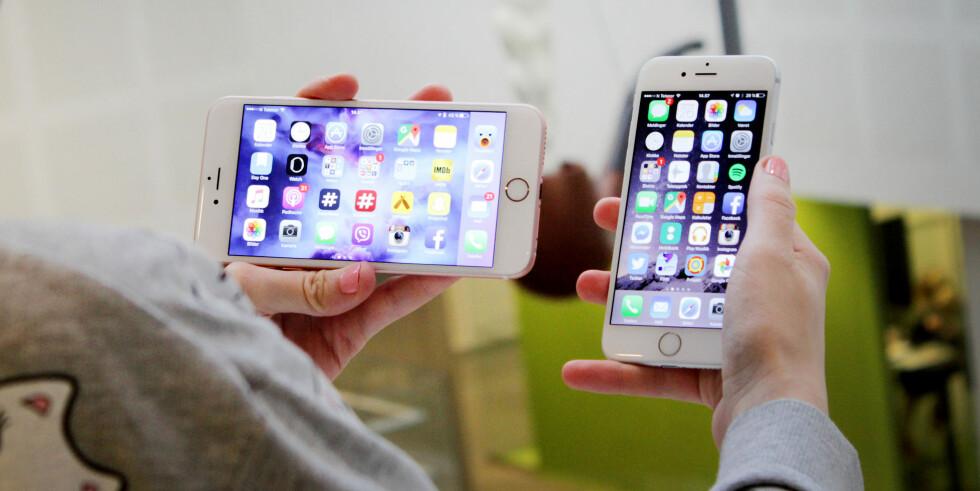 SKJERMEN ROTERER: Vrir du iPhone 6s Plus i landskapsmodus, følger hjemskjermen etter. Det skjer ikke på iPhone 6s. Foto: OLE PETTER BAUGERØD STOKKE