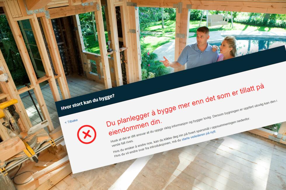 NEI, DET BLIR FOR MYE: Ny nettjeneste skal gjøre det enklere for deg å sjekke hvor mye du kan bygge på tomta di. Foto: FOTOLIA/NTB SCANPIX/KRISTIN SØRDAL