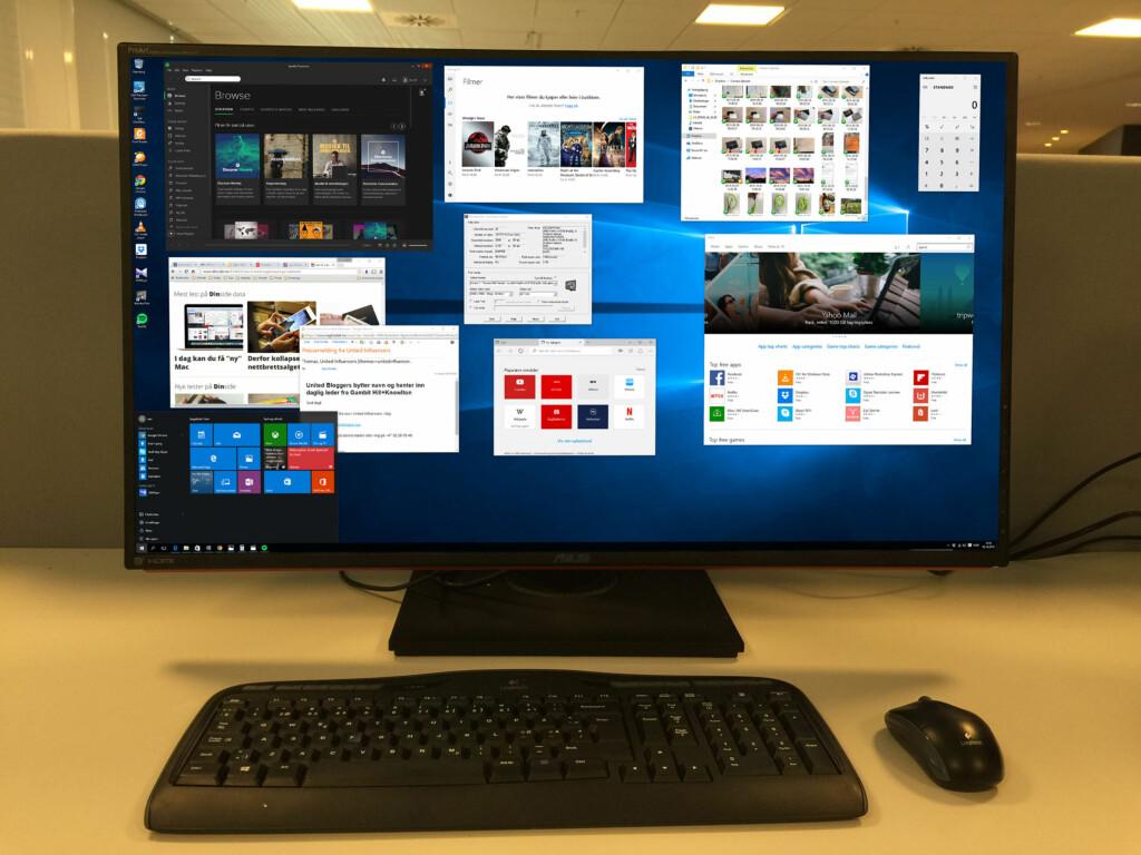 Ønsker du å jobbe med mange programvinduer samtidig? Da er en 4K-skjerm på 32 tommer midt i blinken. Foto: BJØRN EIRIK LOFTÅS