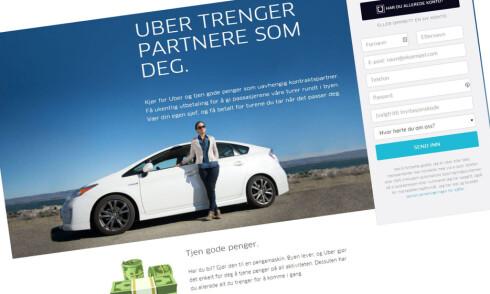 REKRUTTERING: - Gjør bilen din til en pengemaskin, heter det i Ubers annonse for å tiltrekke seg nye sjåfører. Foto: UBER