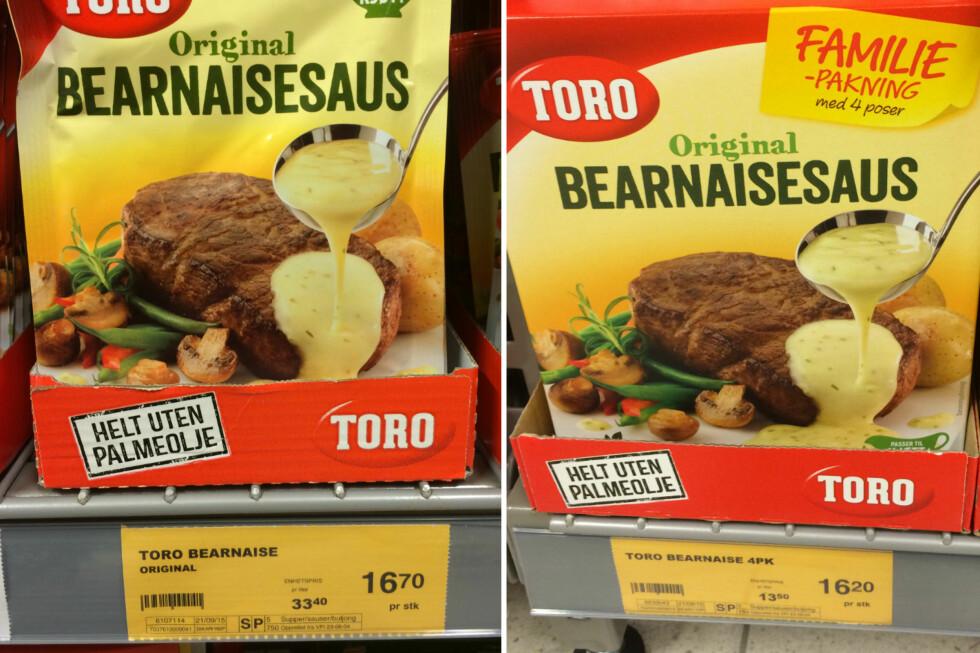 1 ELLER FLERE? Selv om du bare trenger en pose bearnaisesaus, lønner det seg å kjøpe familiepakningen. Foto: BERIT B. NJARGA