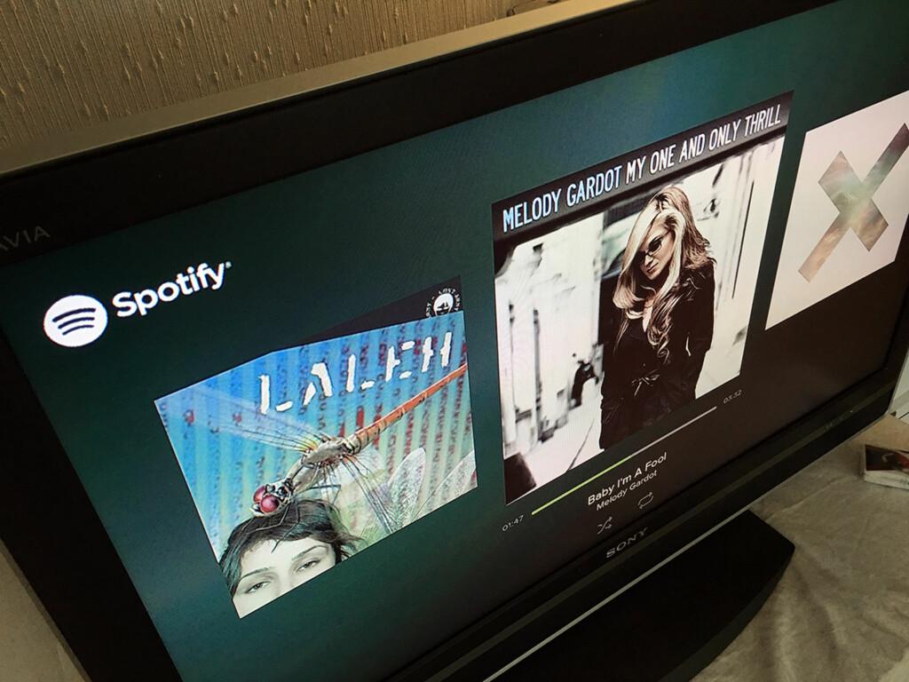 ENDELIG: Mange Chromecast-eiere har savnet støtte for Spotify, men det er nå på plass, med albumgrafikk og det hele.