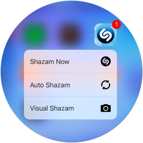 <b>HVILKEN LÅT VAR DET IGJEN?</b> Med 3D Touch fungerer Shazam-ikonet nesten som en widget på hjemskjermen. Foto: KIRSTI ØSTVANG