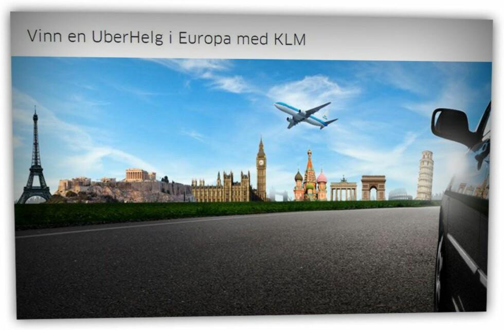 UBER-HELG: KLM tilbyr gratis Uber-transport til heldige vinnere. Foto: KLM