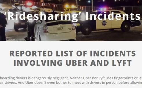 SKREKKHISTORIER: Netstedet whosdrivingyou.org fanger opp alvorlige hendelser med Uber og lignende «taxi»-tjenester. Foto: WHOSDRIVINGYOU.ORG