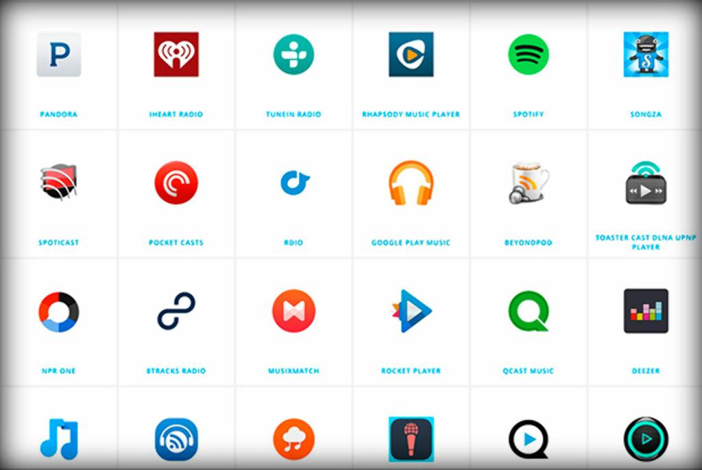 MANGE APPER: Dette er bare noen av appene som har støtte for lyd-casting.