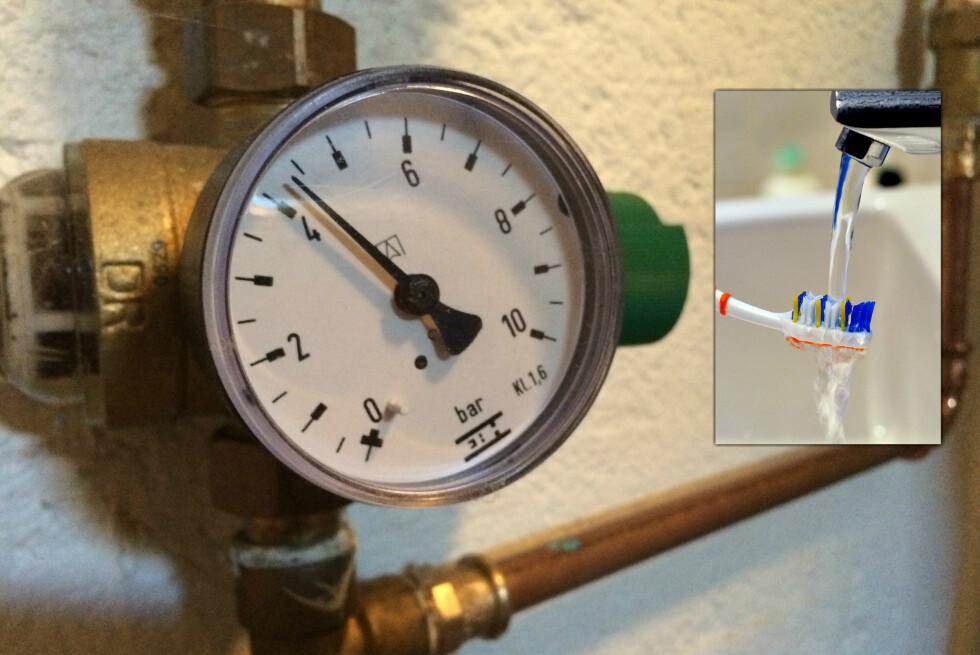 SJEKK SELV: Hvis du sliter med lavt vanntrykk kan det være lurt å ta en titt på trykkmåleren og reduksjonsventilen. Foto: Berit B. Njarga / Nick Ansell
