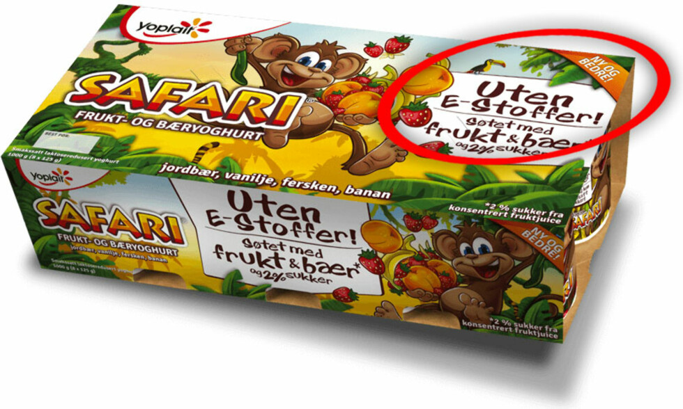 NEGATIV E-FOKUS: Fjordland gir gjennom Safari-yoghurten inntrykk av at et fravær av E-stoffer er noe positivt, og at E-stoffer i motsatt fall kan være negativt, i alle fall for barn. Foto: FJORDLAND