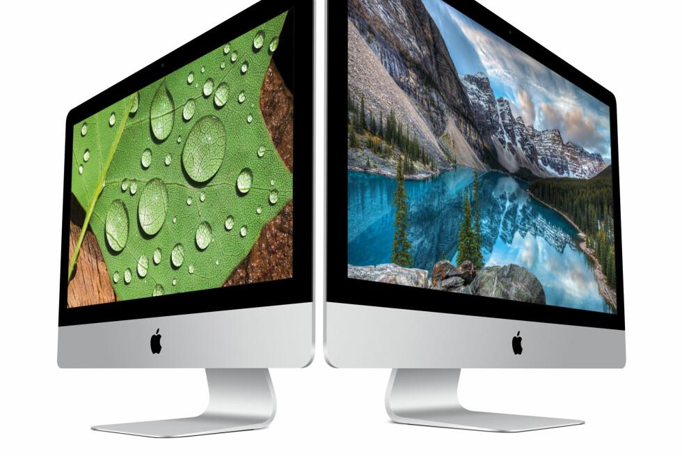 SYLSKARPE SKJERMER: Nå er det kun «Retina» som gjelder hos Apples iMac-serie. Både lillebror og storebror har nå fått superhøyoppløst skjerm. Foto: APPLE