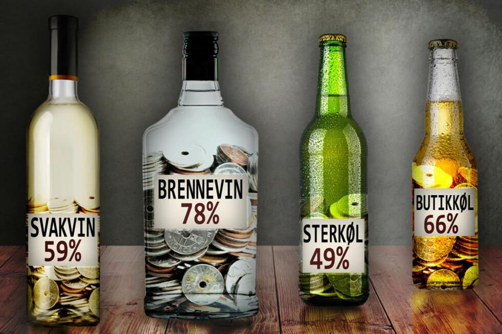 ALKOHOLAVGIFTER: Hvor mye du betaler i avgifter når du kjøper alkohol, avhenger av hva du kjøper. Eksempelvis er det mest avgifter på brennevin, som utgjør rundt 78 prosent. Foto: OLE PETTER BAUGERØD STOKKE/FOTOLIA/NTB SCANPIX