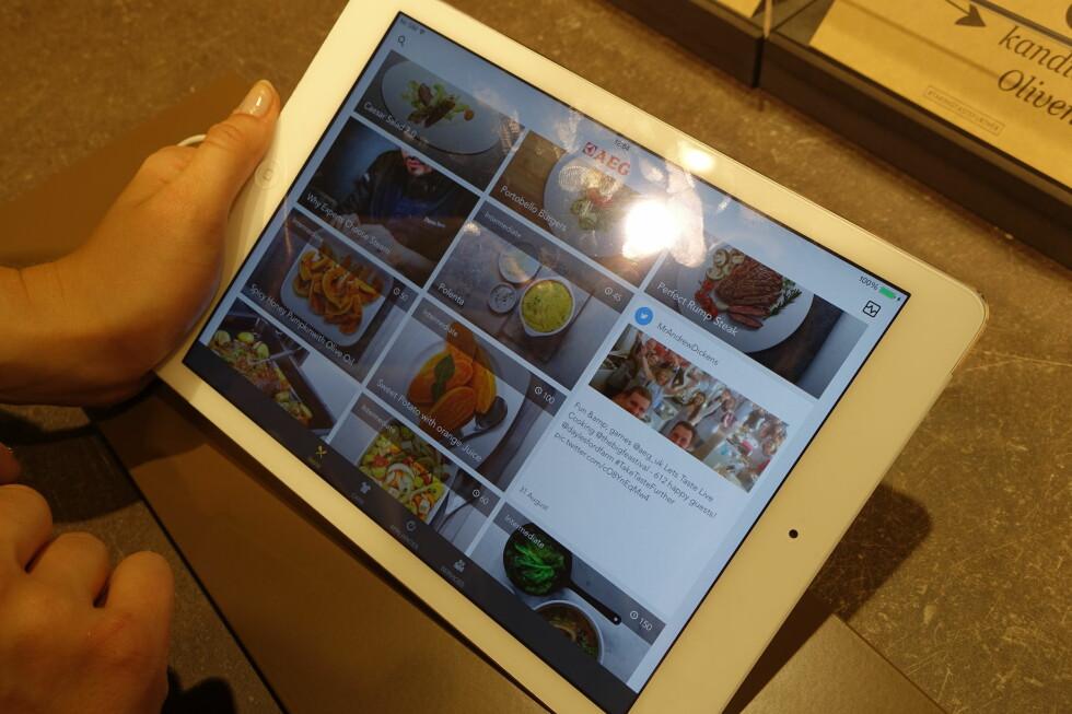 <strong>Trinn 1:</strong> Finn den matretten du skal lage  i appen. Foto: ØVYIND PAULSEN