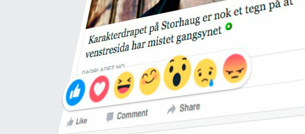 <strong>IKKE BARE LIKER:</strong> Du kan få den nye Facebook-funksjonen ved å gjøre et lite triks. Foto: PÅL JOAKIM OLSEN