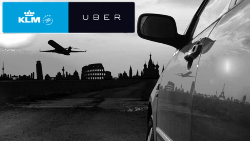 TILBUD: Det nederlandske flyselskapet KLM gir kundene sine Uber-tilbud. Foto: KLM