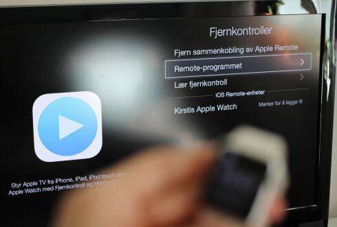 KOBLE SAMMEN: Du må inn i Apple TV-innstillingene for å legge til Apple Watch som fjernkontroll. Foto: KIRSTI ØSTVANG
