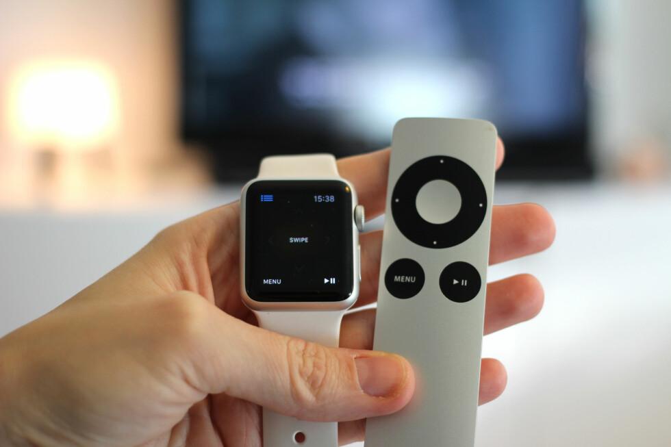 STYRE APPLE TV: En av tingene du kan gjøre med Apple Watch er å styre Apples TV-boks. Perfekt for deg som alltid roter vekk den lille aluminiums-fjernkontrollen? Foto: KIRSTI ØSTVANG