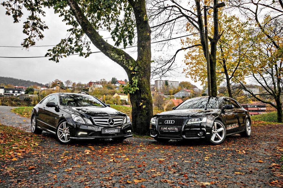 KONKURRENTENE: Det er duket for duell, og Mercedes E-klasse møter Audi A5 i ringen!  Foto: Kaj Alver