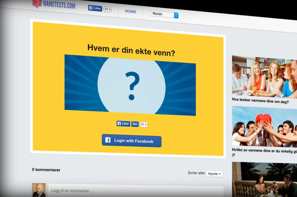 <strong>SAMLER INFORMASJON:</strong> Visste du at du gir fra deg VELDIG mye privat informasjon ved å ta slike tester på Facebook? Foto: PÅL JOAKIM OLSEN
