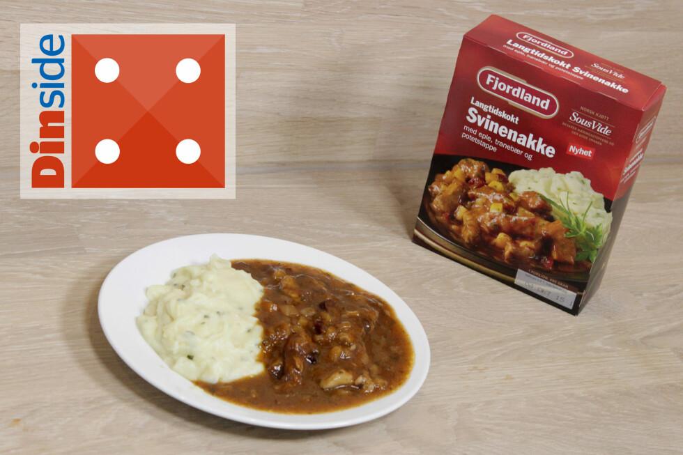 LANGTIDSKOKT SVINENAKKE: Mye saus og i overkant søtt, men pluss for godt kjøtt. 1 porsjon inneholder 490 gram og har 500 kcal. Foto: OLE PETTER BAUGERØD STOKKE