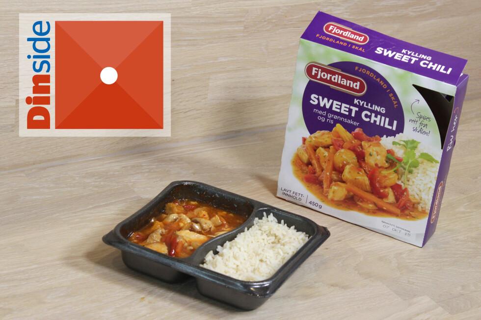 """KYLLING SWEET CHILI: Klassisk norsk ferdigmat med """"asiatisk"""" smak. 1 porsjon er på 450 gram og har 509 kcal. Foto: OLE PETTER BAUGERØD STOKKE"""