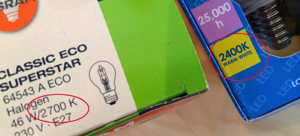 SJEKK FARGETEMPERATUREN: Ønsker du et varmt lys, gå for et lavt Kelvin-tall. 2700 K betyr at lampen avgir et varm lys, mens 4000 K betyr et kaldere lys. Høyere fargetemperatur, altså et høyere Kelvin-tall, vil ofte oppfattes som bedre til fargegjengivelse og kontraster - som for eksempel vil gjøre det lettere dersom du skal lese i lyset fra lampen. Foto: KRISTIN SØRDAL