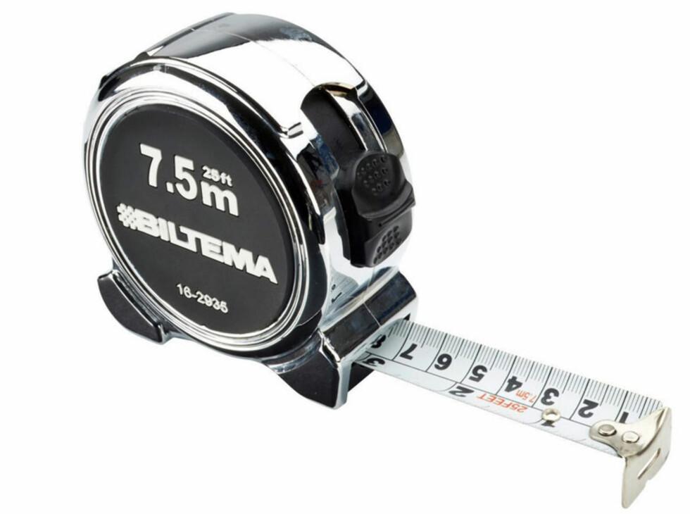 <strong><b>MÅLEBÅND:</strong> </b>5 meter i stål, med tommer og millimeter. 34,90 Foto: BILTEMA