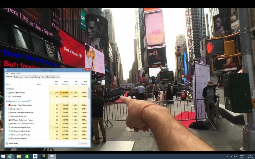 Å spille av høyoppløst materiale er null problem, også 4K-videoer på YouTube. Foto: BJØRN EIRIK LOFTÅS