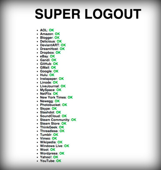 36 tjenester: Besøker du nettsiden Super Logout blir du umiddelbart logget ut fra 36 nettjenester.