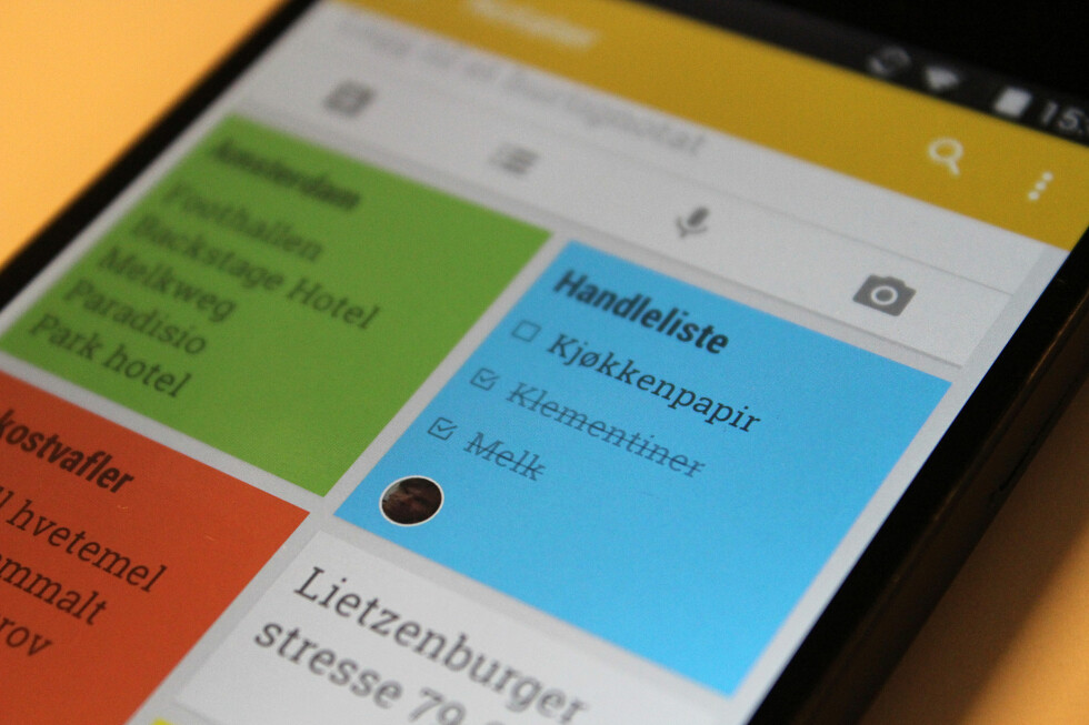 KJEKK APP: Google Keep er en enkel og smart app for å samle små notater og huskelapper på ett sted. Foto: KIRSTI ØSTVANG