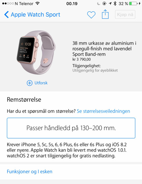 IKKE TILGJENGELIG ENNÅ: De norske prisene er klare i Apples nettbutikk, men du får ikke kjøpt smartklokka. Ennå. Foto: KIRSTI ØSTVANG