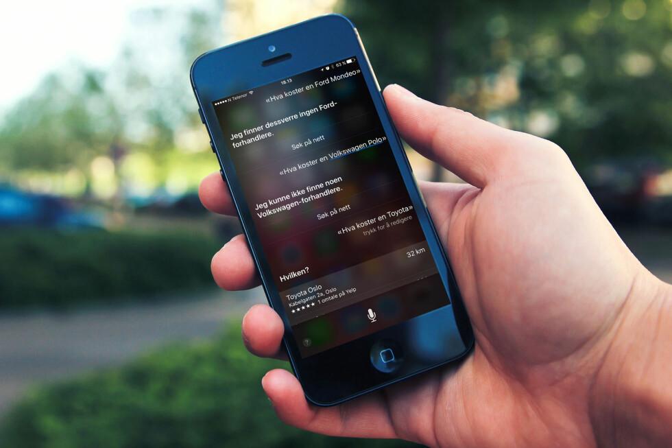 <strong><B>MER MORSOM ENN NYTTIG</B>:</strong> Jovisst kan Siri hjelpe deg med mye rart, men den norske utgaven har en del å gå på når det gjelder treffsikkerhet. Foto: DINSIDE