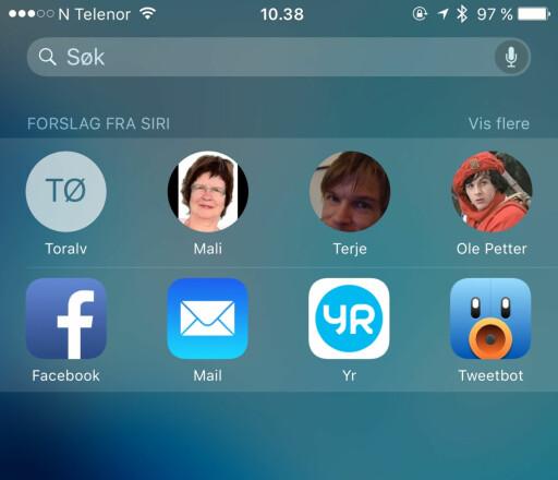 HVA VIL DU GJØRE? iOS 9 kan lære seg hvem du kontakter og hvilke apper du bruker i løpet av dagen, og gir deg forslag basert på ditt bruksmønster.  Foto: KIRSTI ØSTVANG