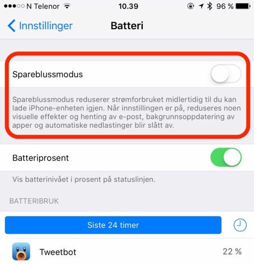 SNART TOM FOR STRØM? Endelig har også iPhone fått en strømsparingsfunksjon. Foto: KIRSTI ØSTVANG