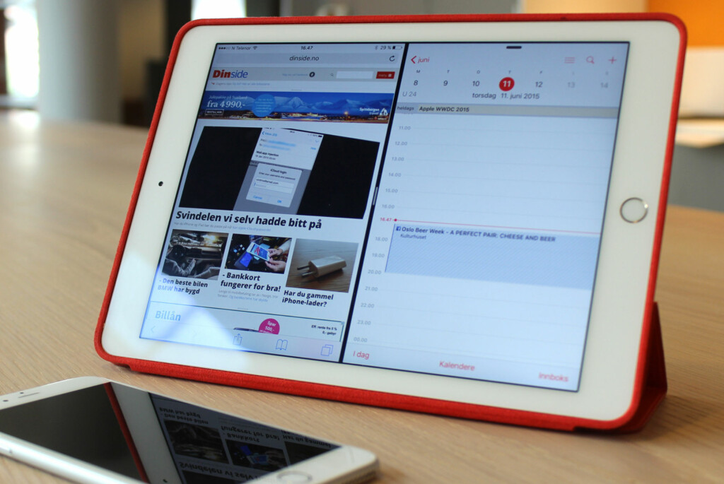 <b>NÅ KAN DU GJØRE DETTE:</b> Har du iPad Air 2, kan du med iOS 9 installert kjøre to apper ved siden av hverandre. Foto: KIRSTI ØSTVANG