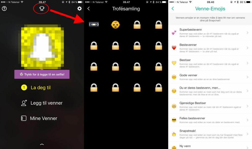 ANDRE NYHETER: Etter hvert som du bruker de ulike funksjonene i Snapchat-appen, vil du nå få troféer. Og lurer du på hva de ulike venne-emojiene står for? Sjekk guiden i innstillingene. Foto: KIRSTI ØSTVANG