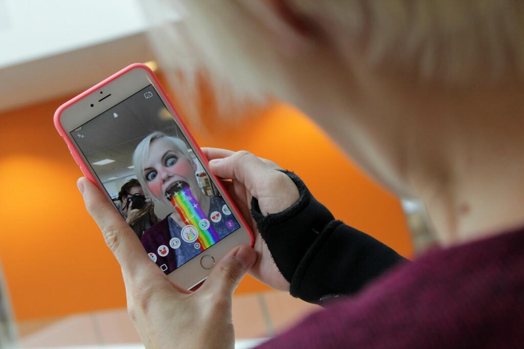 <b>SNAPCHAT OPPDATERES:</b> Nå kan du sende selfier som dette. Men hvordan gjør du det? Foto: OLE PETTER BAUGERØD STOKKE