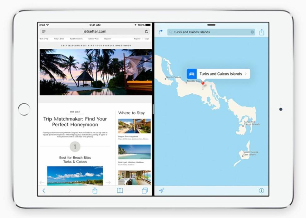 SIDE OM SIDE: Har du iPad Air 2 kan du nå bruke to apper ved siden av hverandre med iOS 9.