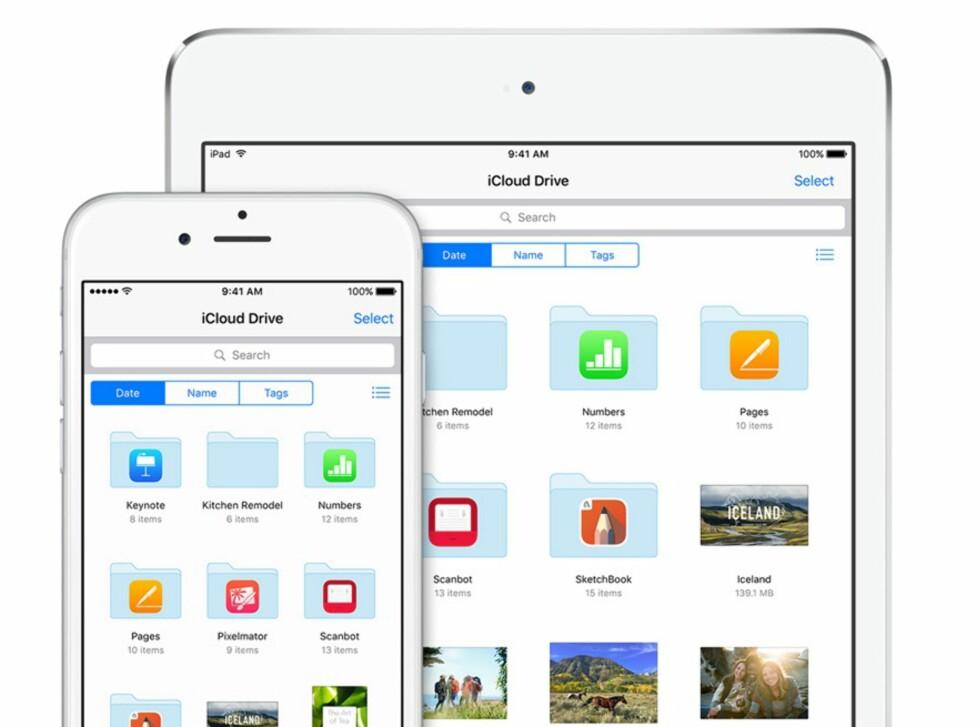 ALLE FILENE: I den nye iCloud Drive-appen får du tilgang til alle filene du har lagret i iCloud. Foto: APPLE