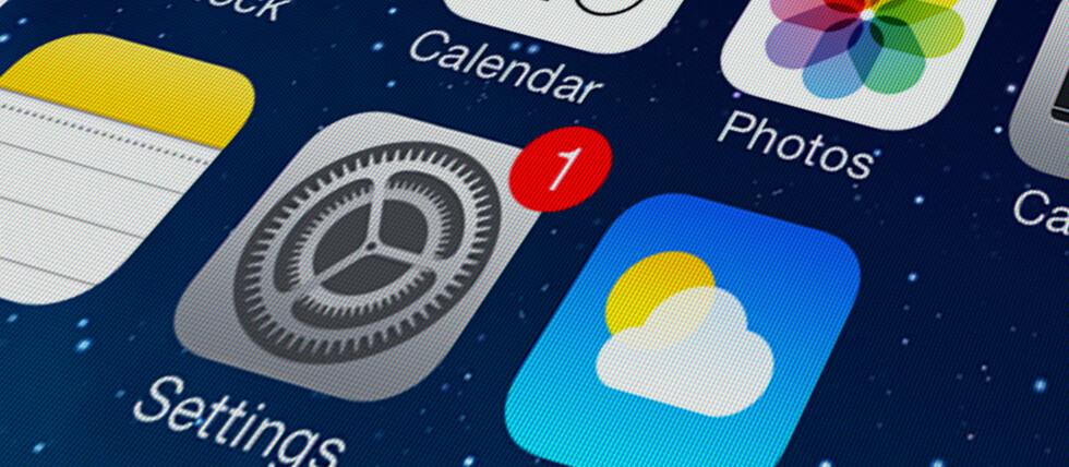 KOMMER I DAG: iOS 9-oppdateringen til iPhone, iPad og iPod Touch rulles ut i dag. Det røde ett-tallet på innstillinger-appen betyr at oppdateringen er klar til nedlasting. Foto: PÅL JOAKIM OLSEN