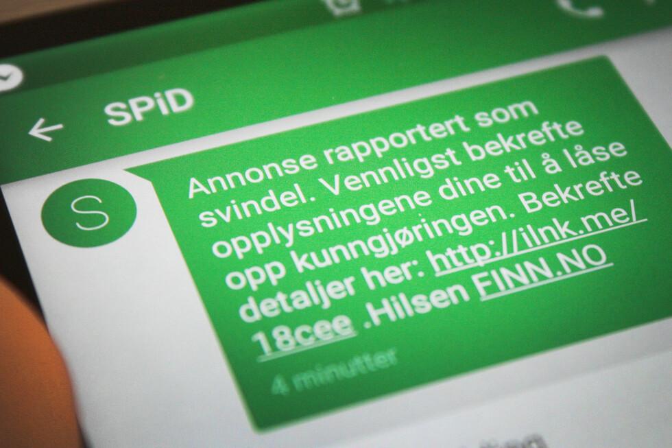 FALSK: Blant annet tekstmeldinger som dette har blitt sendt til selgere på Finn.no. Svindlerne sender dem til en falsk innlogging, og stikker av med brukernavn og passord.  Foto: OLE PETTER BAUGERØD STOKKE