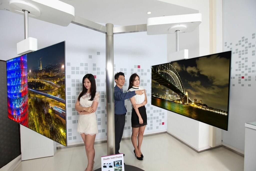 TYNNERE ENN MOBILEN: Tosidige, flate TV-er med tykkelse på 55mm. Foto: LG