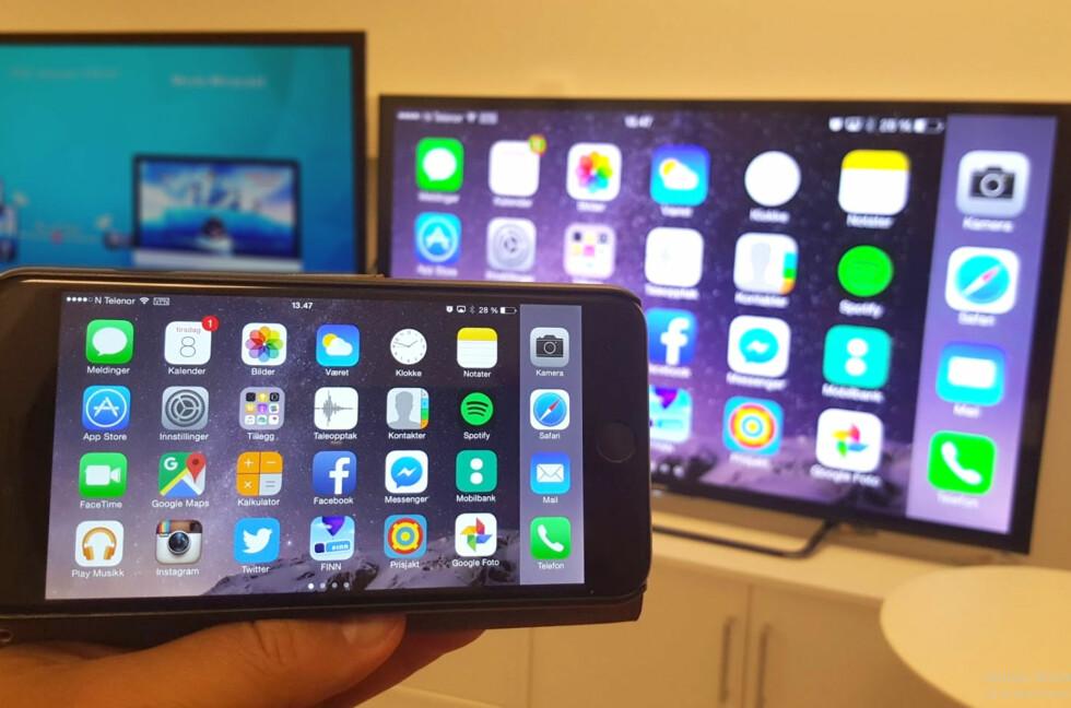 HAR DU SETT: Jovisst fikk vi se iPhone-hjemskjermen på TV-en, men ...  Foto: BJØRN EIRIK LOFTÅS