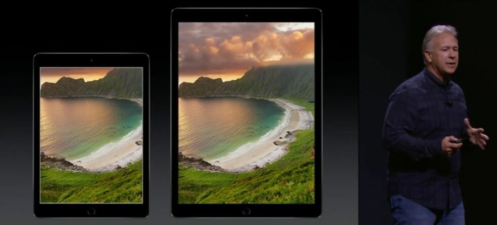 Større: iPad Air 2 mot iPad Pro. Foto: APPLE