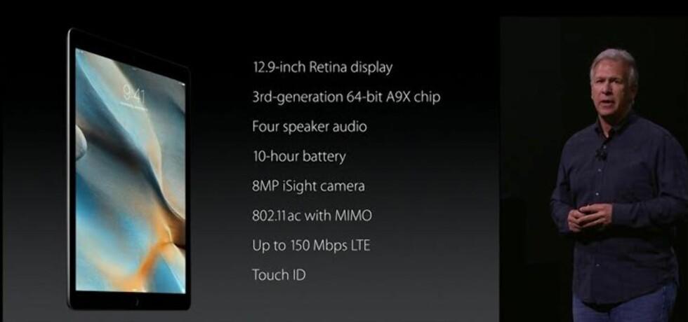 Spesifikasjoner iPad Pro Foto: APPLE