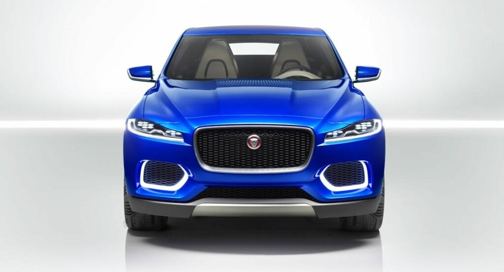 UMISKJENNELIG: Dette er Jaguars familieansikt anno 2015 og F-Pace kommer til å ligne sterkt på dette - bildet viser fronten på konseptbilen C-X17. Foto: JAGUAR