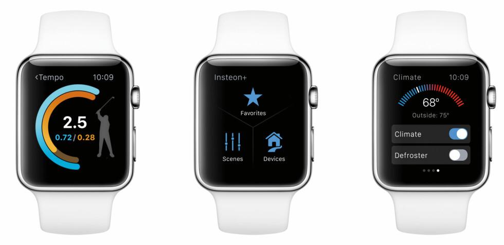 BEDRE TREDJEPARTSAPPER: Endringene i watchOS 2 gjør for eksempel at appen Ping kan bruke akselerasjonsmåleren i Apple Watch til å måle hastigheten på golfslaget ditt. Foto: APPLE