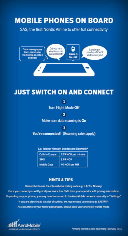 «BRUK HELLER WIFI»: Denne brosjyren skal ifølge SAS ligge i setet på flyene hvor du kan roame. Den tipser om å heller bruke flyets wifi om du har tenkt å surfe mye. Men uansett om du surfer aktivt, kan mobilen din bruke data i bakgrunnen.