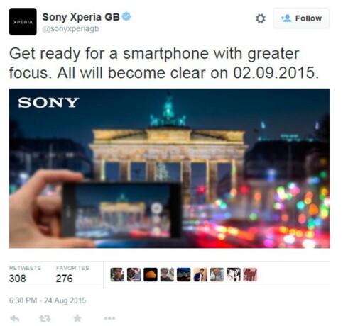 TWITTER-MELDING: Sony lover «mer fokus» på ny IFA-mobil. Foto: TWITTER